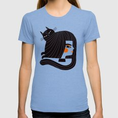 CAT HAIR Tri-Blue SMALL Womens Fitted Tee