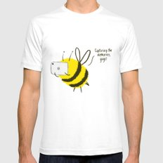 Festival Bees  White SMALL Mens Fitted Tee