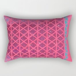 Pink with Pink Glitter Fade + Turquoise  Rectangular Pillow