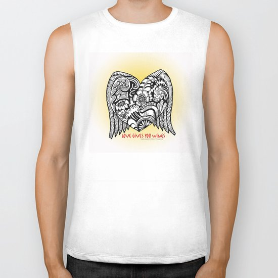 Love Gives You Wings A Zentangle Illustration for Lovers Biker Tank
