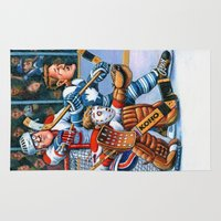 hockey Area & Throw Rugs featuring Olde Time Hockey by Mark Schaeffer Studios