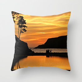 Sonoma Coast Sunset - Couple & Pup Throw Pillow