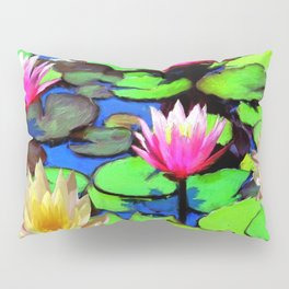 PINK & YELLOW WATER LILIES POND Pillow Sham