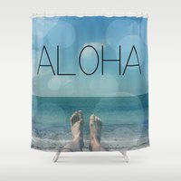 aloha Shower Curtains featuring ALOHA by mark ashkenazi