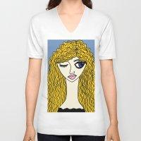 sassy V-neck T-shirts featuring Sassy by Kurit Mikay