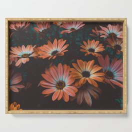 Midnight Bloom | Dark Orange Garden Serving Tray