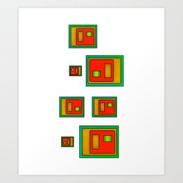 Green Orange And Gold Geometric Abstract Art Print