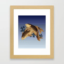 Hokusai – two carps -葛飾 北斎,engraving,carpa, fish. Framed Art Print