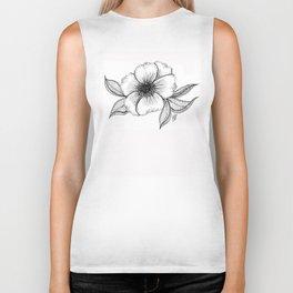 The Camellia flower - black & white Biker Tank