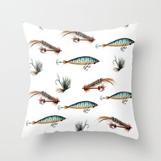 Vintage fishing lures -watercolor  Throw Pillow