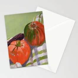 Pumpkin, Tomato and Corn Still Life Stationery Cards