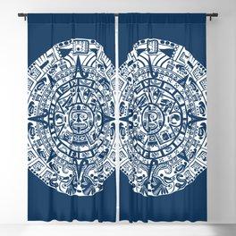 Mayan Calendar // Navy Blue Blackout Curtain