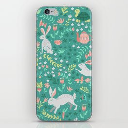 Spring Pattern of Bunnies with Turtles iPhone Skin