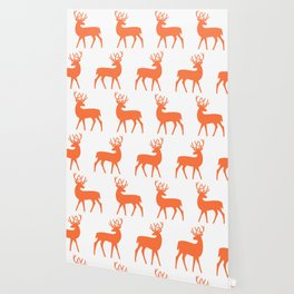 Mid Century Modern Deer Pattern Orange 3 Wallpaper