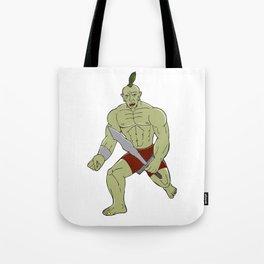 Orc Warrior Wielding Sword Running Cartoon Tote Bag