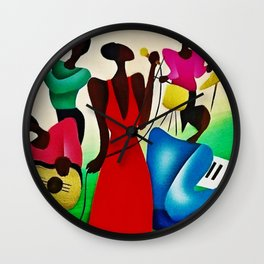 African American Masterpiece 'Bourbon Street New Orleans Jazz' by Fred Blassingham Wall Clock