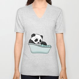 Bathtub panda Unisex V-Neck
