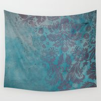 damask Wall Tapestries featuring Grunge Damask by cafelab