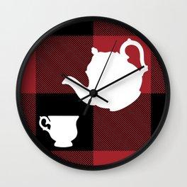 Big Chonky Blocks Afternoon Tea Coffee Set White Silhouette on Buffalo Plaid by @risottoart, check o Wall Clock