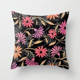 Stylized Flower Pattern 4 Throw Pillow