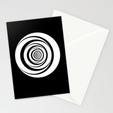 Black White Circles Optical Illusion Stationery Cards