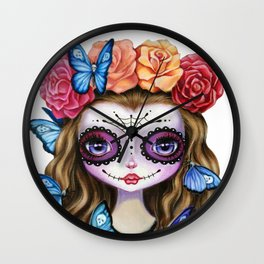 Sugar Skull Gil with Flower Crown and Butterflies Wall Clock
