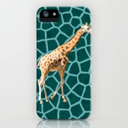 African Giraffe on Blue Camouflage iPhone Case