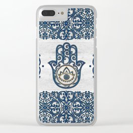 Hamsa Hand Hand of Fatima blue wood Clear iPhone Case