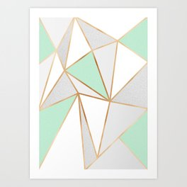 Mint Green, Grey & Gold Geo Art Print