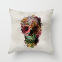 blue Throw Pillows featuring SKULL 2 by Ali GULEC