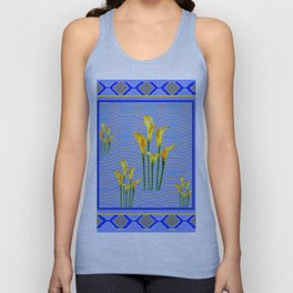 Shades of Blue Yellow Calla Lily Art Unisex Tank Top