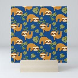 Cute Sloths on Blue, Baby Sloth Hanging Mini Art Print