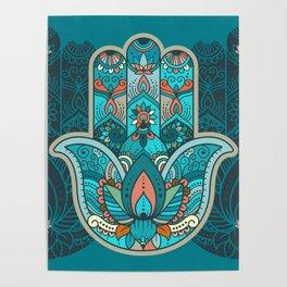 Hamsa Hand of Fatima, good luck charm, protection symbol anti evil eye Poster