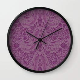 Purple Peacock Print Wall Clock