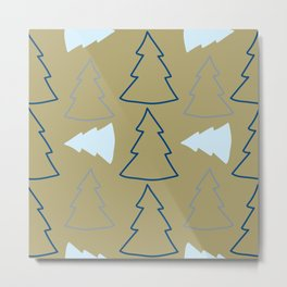 Blue and Silver Trees Metal Print