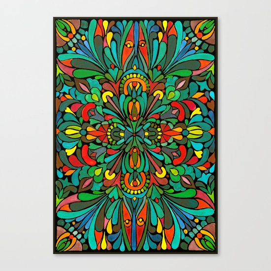 Green red orange pattern Canvas Print