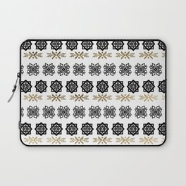Black white faux gold watercolor hand painted scandinavian Laptop Sleeve