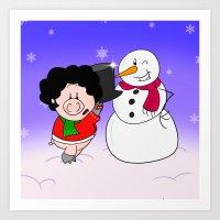snowman Art Prints featuring Snowman by Afro Pig