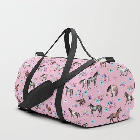 Horses & Flowers, Pink Pattern, Horse Illustration, Little Girls Room, Watercolor by cateandrainn