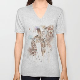 """Watercolor Painting of Picture """"Mother and Son"""" Unisex V-Neck"""