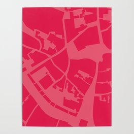 Vilnius map pink Poster