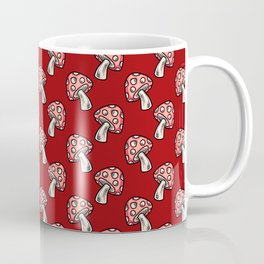 Hand Drawn Forest Toadstools on Red Coffee Mug