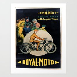 retro retro la royal moto a ouvert lere de la moto pour tous poster Art Print