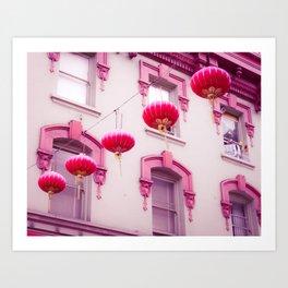 Pink Lanterns in the Wind Art Print