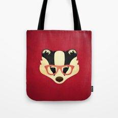 Hipster Badger: Red Tote Bag