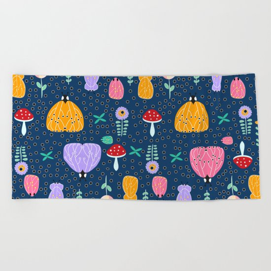 Insects at night Beach Towel