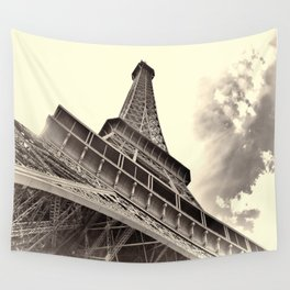 The famous Eiffel Tower in Paris, France in sepia. Vintage photography Wall Tapestry