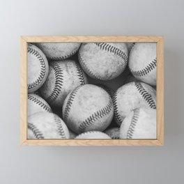 Baseballs Black & White Graphic Illustration Design Framed Mini Art Print