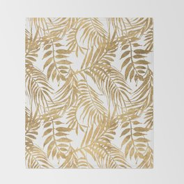 Elegant tropical gold white palm tree leaves floral Throw Blanket