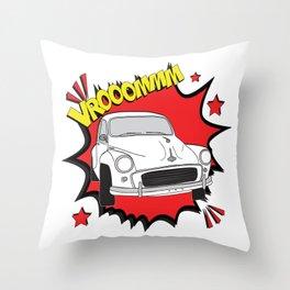 "Morris Minor ""vrooom"" Pop Art Throw Pillow"